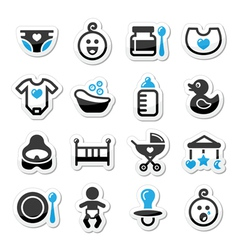 Baby childhood icons set isolated on whit vector image