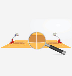 basketball field and magnifying glass vector image vector image