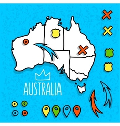 Cartoon style Australia travel map with pins vector image vector image