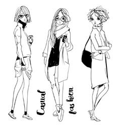 cute cartoon girls vector image vector image