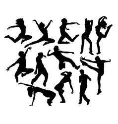 happy hip hop dancing activity silhouettes vector image vector image