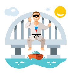 Jumper from the bridge flat style colorful vector
