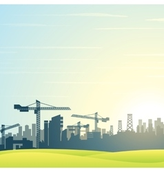 Modern City Skyline Buildings Construction vector image vector image