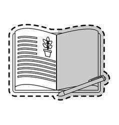 Open book with plant drawing icon imag vector