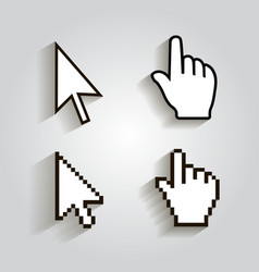 Pixel cursors icons mouse hand arrow vector image vector image