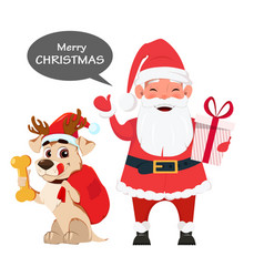 santa holding gift box and with cute dog sitting vector image vector image