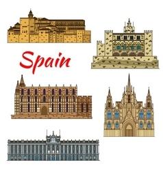 Travel landmark icons of Spain vector image