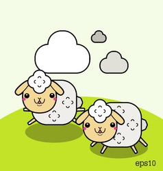 Two white sheep and cloud on the sky vector image