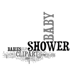 Baby shower clip art text word cloud concept vector