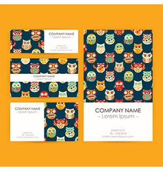 Business Set Template with Owls vector image vector image