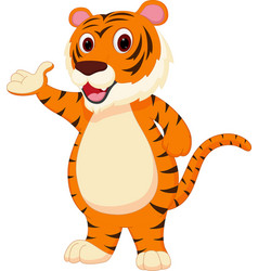 cute tiger cartoon presenting vector image vector image