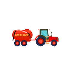 tractor with fertilizer barrel icon vector image
