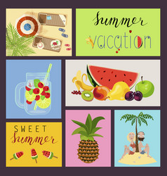 cards with summer elements vector image