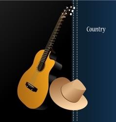 Classical acoustic guitar cowboy hat vector image