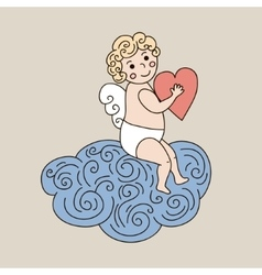 Cute angel on cloud hand drawn vector image vector image