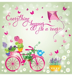 Image with flowers in pots and bicycle on sky blue vector image