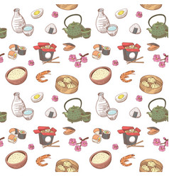 japanese food hand drawn seamless background vector image vector image