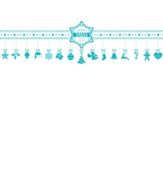 Light blue Christmas ornament banner with vector image vector image