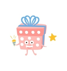Present Box With Party Horn Children Birthday vector image