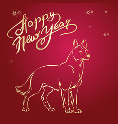year of the yellow dog 2018 year vector image