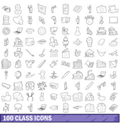 100 class icons set outline style vector image