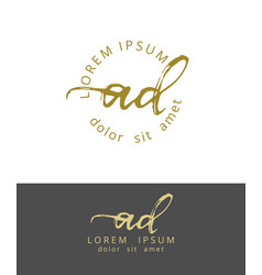a d initials monogram logo design dry brush vector image
