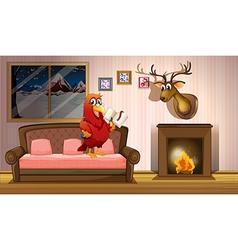 A parrot holding a book beside a fireplace vector