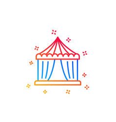 Amusement park tent line icon circus sign vector