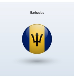 Barbados round flag vector