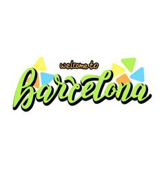 barcelona handwritten logotype banner template vector image