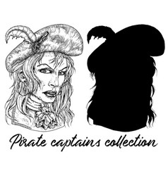 Beautiful pirate captain woman and silhouette vector