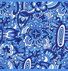 blue doodle flower seamless abstract vector image