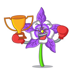 Boxing winner columbine flower mascot cartoon vector