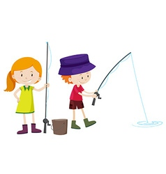Boy and girl fishing vector