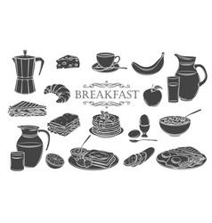 Breakfast icons glyph vector