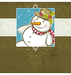 Brown christmas background with snowman vector