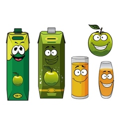 Cartoon happy green apple fruit glasses and packs vector