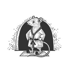 Cartoon mouse at home sketch vector