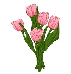 cartoon pink tulips vector image