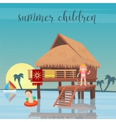 Children Sea Vacation Girl and Boy in the Beach vector image