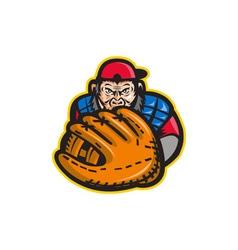 Chimpanzee Baseball Catcher Glove Retro vector