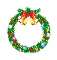 Christmas pine branch wreath with jingle bell and vector
