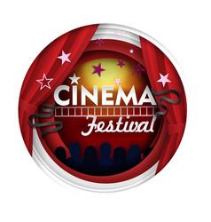 cinema festival paper cut poster banner vector image