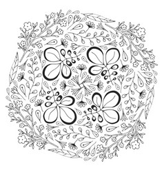 Circle floral ornament adult coloring book page vector