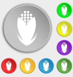 Corn icon sign Symbol on eight flat buttons vector