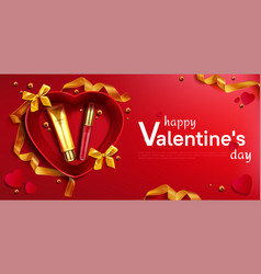 cosmetic cream tube and lipstick for valentine day vector image