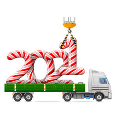 crane loads new year 2021 candy stick vector image