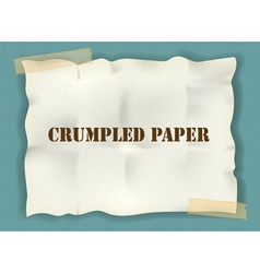 Crumpled paper with tape on blue background vector