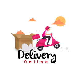 delivery online box delivery man on scooter backgr vector image