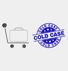 dot baggage cart icon and distress cold vector image